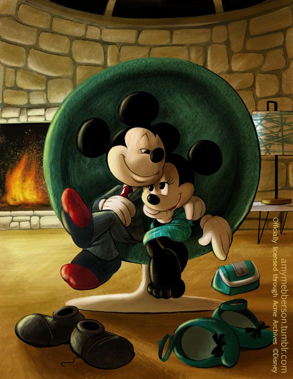 """Date Night"" My first Mouse giclee for Acme, now available HERE I am determined to bring some sophistication, style and elegance back to Mickey and Minnie. I see so much more in this beloved couple than the 'Tee-hee-aw-shucks' image they're always depicted in."