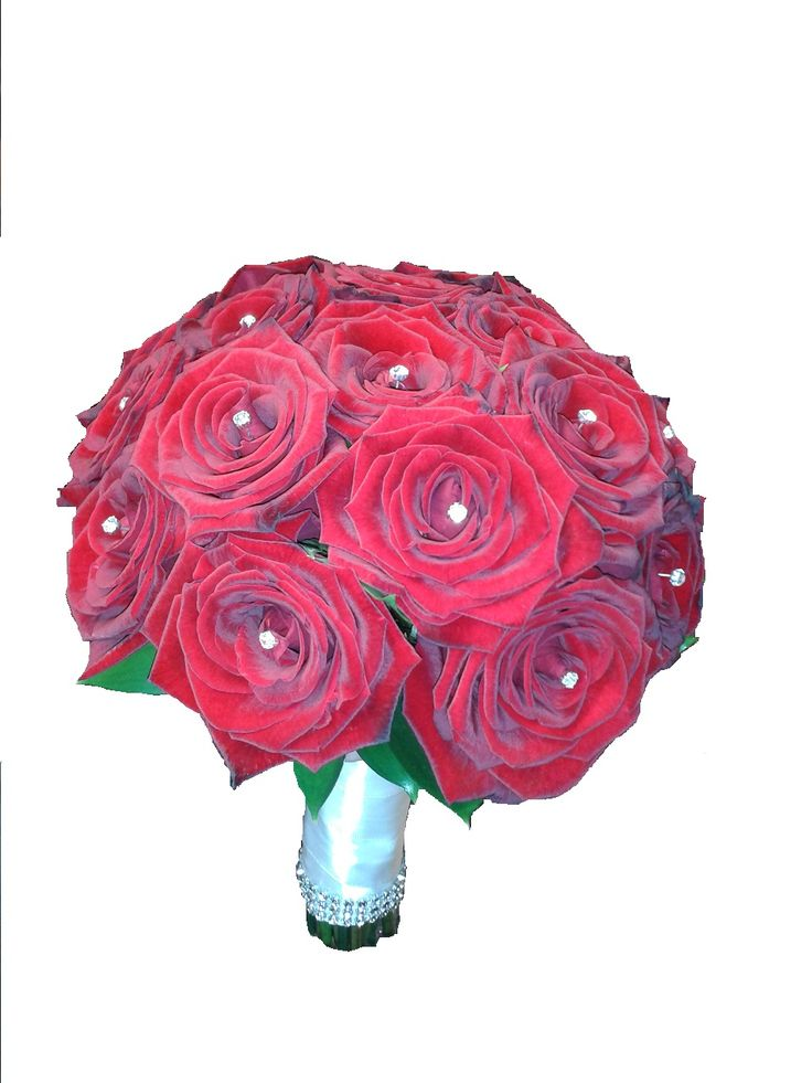 red rose handitied for bride with diamonte wedding bouquet www.flowerartbycatrin.com llanelli wales