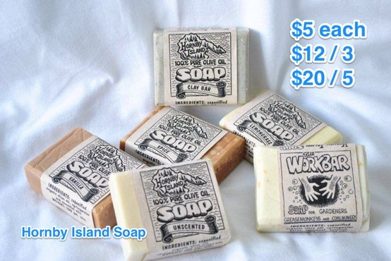 $5 / each $12 for 3, $20 for 5. Hornby Island Soap