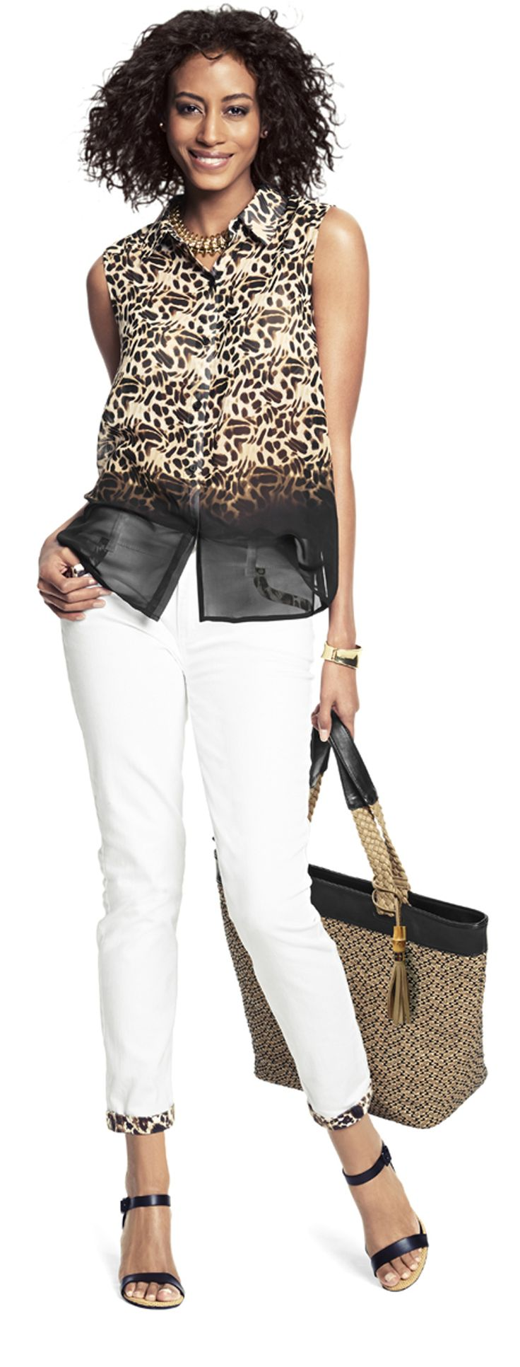 Chico's Animal Illusion Allen Shirt paired with the Platinum Pieced Animal Print Skimmer