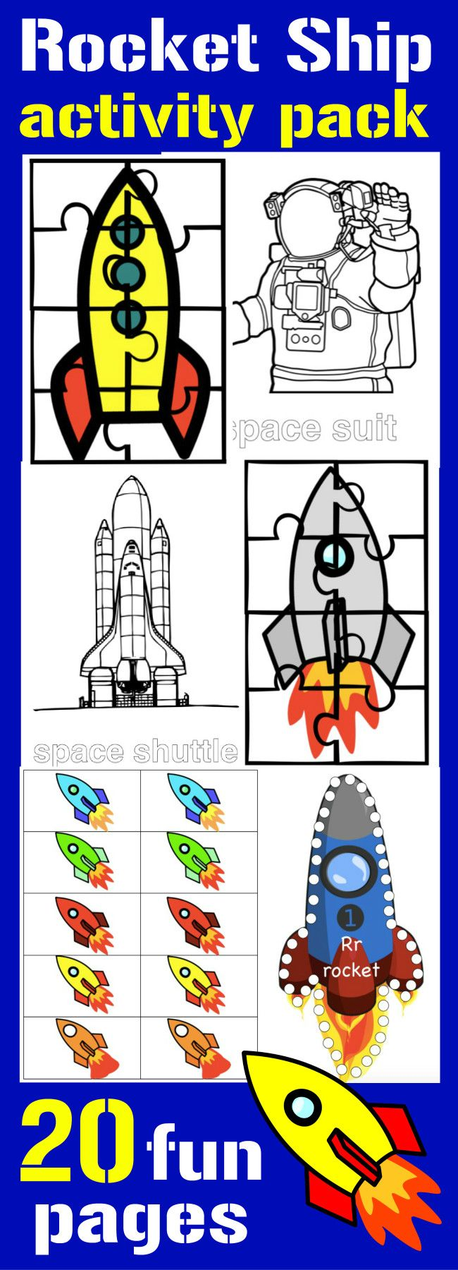 Fun for your favorite astronaut! 20 Activity pages about rocket ships from HappyandBlessedHome.com DIY kids' activities with fun graphics - worksheets and puzzles can be used for a birthday party or game. Ad #CambioConfiable