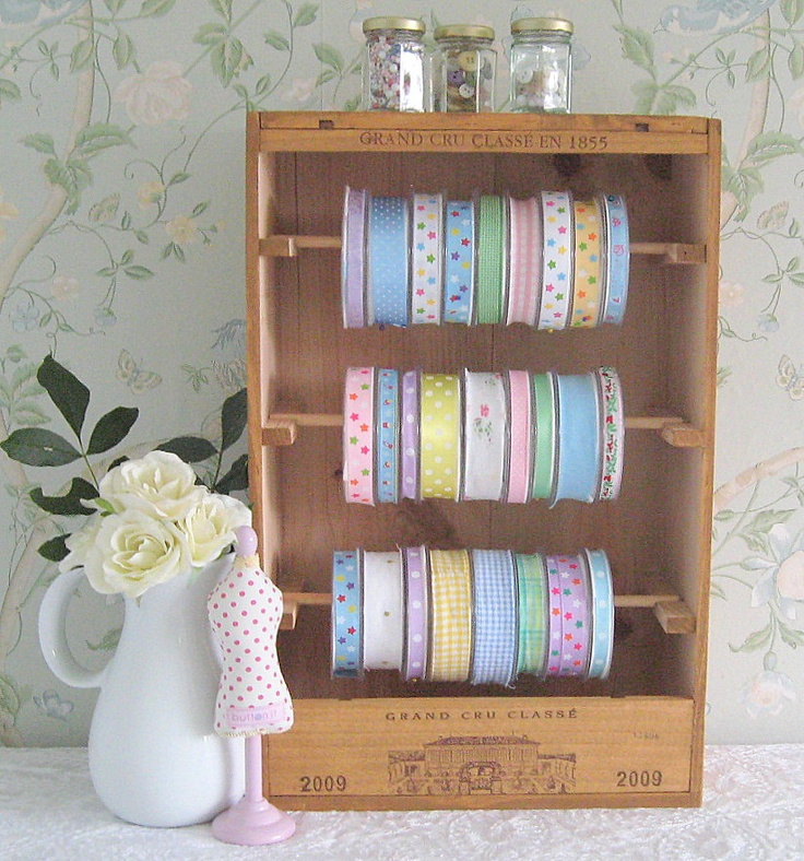 Craft and ribbon storage - Baxter and Snow - Recycled wooden wine boxes - Beautiful accessories for your home, stylish products for your pets and craft storage solutions.