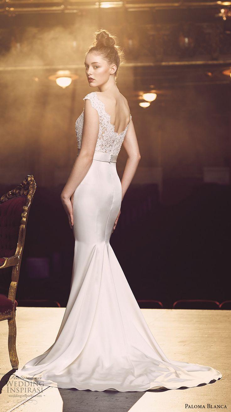 paloma blanca fall 2016 bridal off the shoulder scallop bateau neckline heavily embellished bodice elegant mermaid wedding dress scoop back sweep train (4716) bv