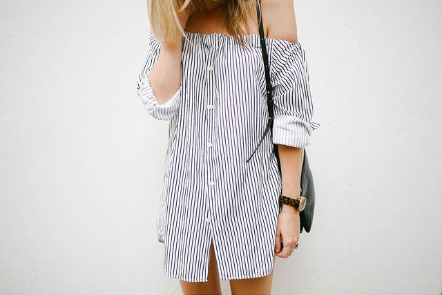 Turn a men's shirt into an off the shoulder dress