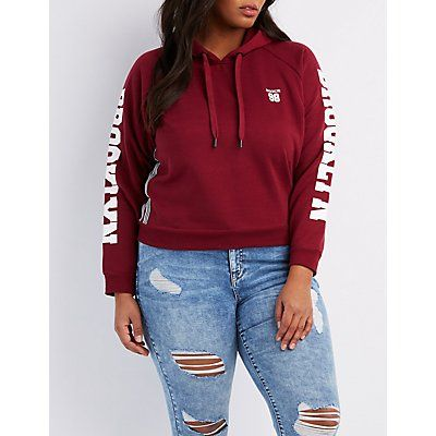 Plus Size Red Brooklyn Cropped Hoodie - Size 2X