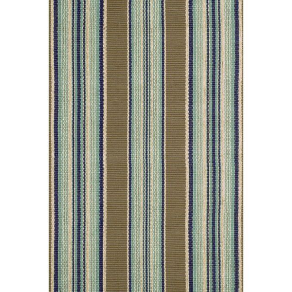 Blue Heron Stripe Flatweave Brown Blue Area Rug In 2020 Dash And Albert Rugs Dash And Albert Indoor Outdoor Rugs