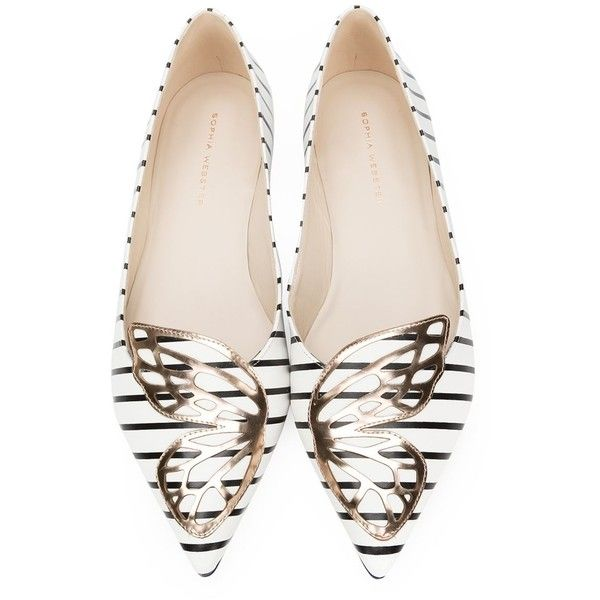 Sophia Webster 'Bibi' ballerinas ($425) ❤ liked on Polyvore featuring shoes, flats, real leather shoes, sophia webster shoes, black and white flats, black and white shoes and leather ballet flats
