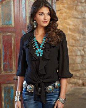Tasha Polizzi Blouse with turquoise jewelry and belt from the Crow's Nest Trading Co.