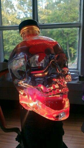 Lava lamp made from Crystal Skull Vodka bottle