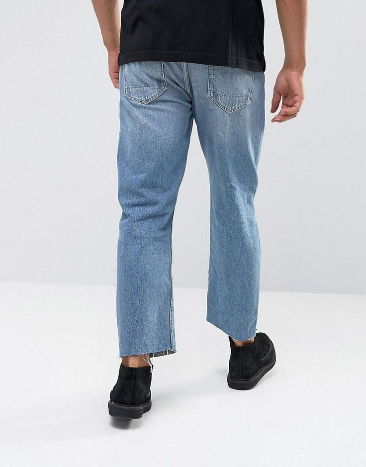 AllSaints Jeans In Straight Fit With Rips - Blue