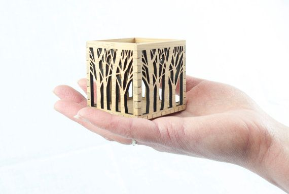 Miniature wooden box with tree pattern by BeamDesigns on Etsy