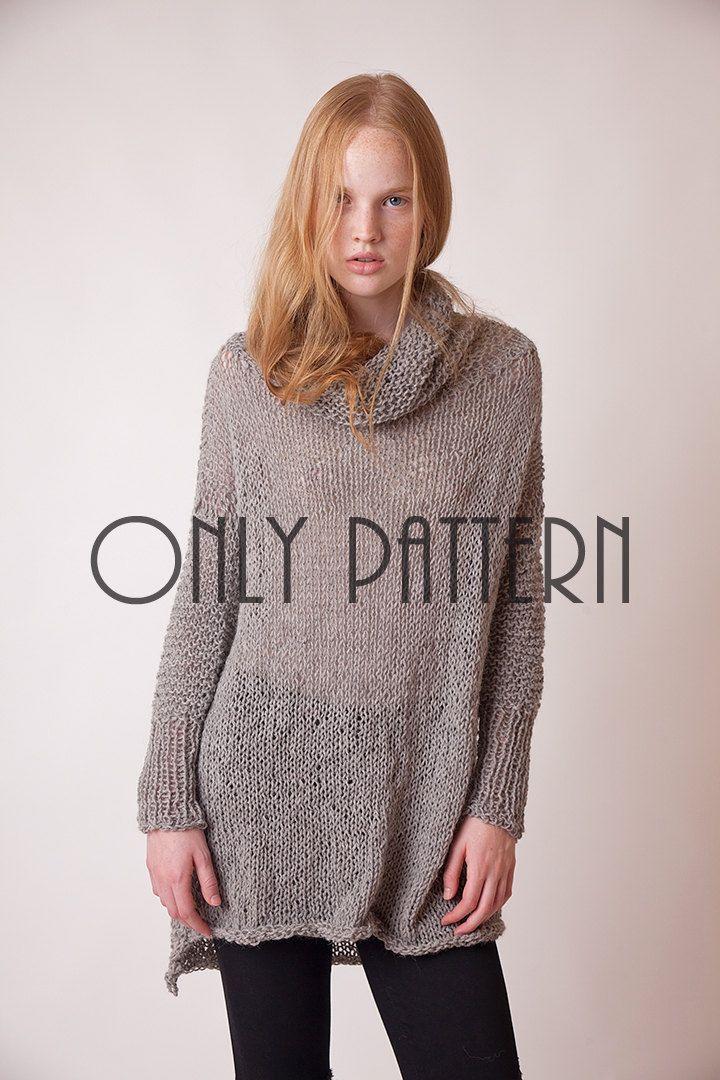 Pattern of long sweater, DIY grey cowl neck pullover, slouchy sweater dress patt, sweater tutorial, intermediate knitters sweater pattern by beWoolen on Etsy