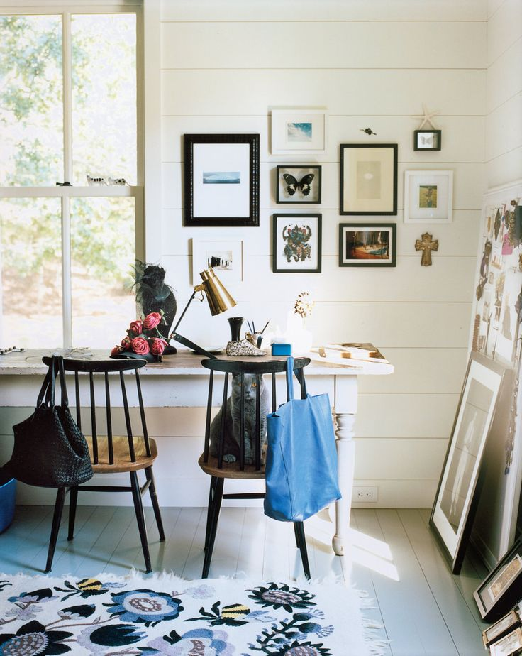 painted wood walls, desk looking out