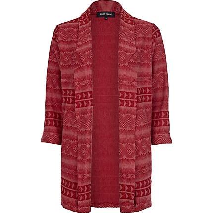 Red aztec jacquard boyfriend blazer £35.00