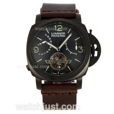 Perfect Replica Panerai Luminor Tourbillon Working Power Reserve Automatic PVD Case with Black Dial-Leather Strap