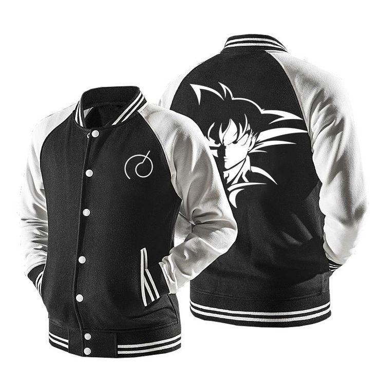 Dragon Ball Son Goku Black And White Baseball Varsity Jacket #DragonBall #SonGoku #Black #And #White #Baseball #Varsity #Jacket