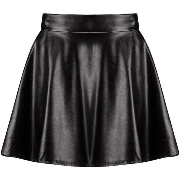 Boohoo Harlow Leather Look Full Skater Skirt | Boohoo ($19) ❤ liked on Polyvore featuring skirts, flared midi skirt, circle skirt, faux-leather midi skirts, pleated midi skirt and maxi skirt