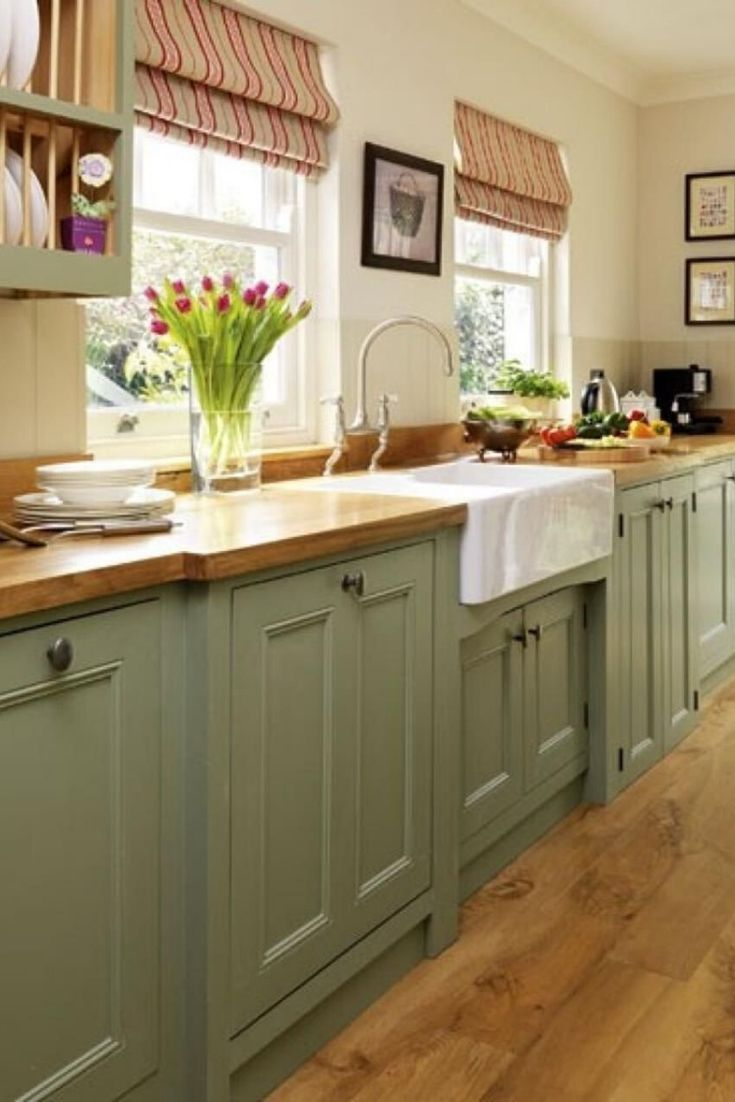 Kitchen Cabinets Design Doors And Storage Cabinets Bartxepetxa In 2020 Country Cottage Kitchen Green Kitchen Cabinets Cottage Style Kitchen