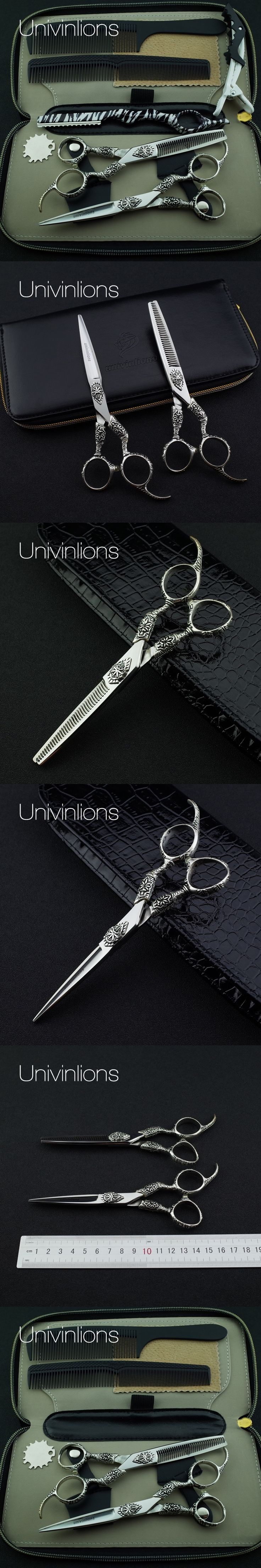 "6"" engraved japanese hair cutting shears professional hairdressing scissors barber scissors 440C barber haircut cutting sissors"