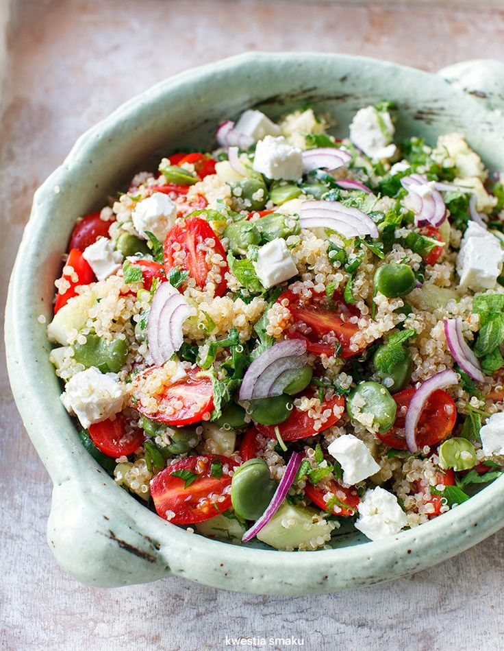Broad bean and feta quinoa tabbouleh