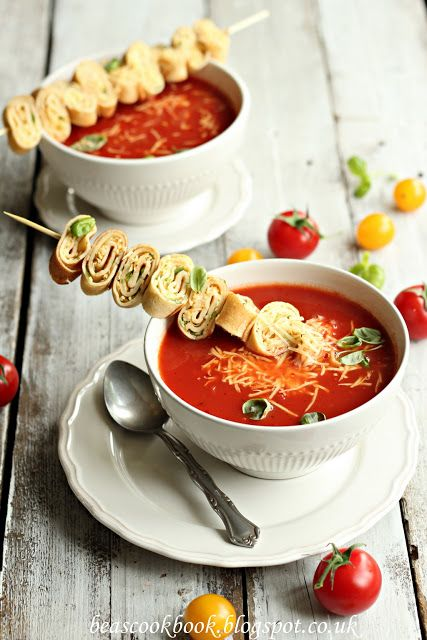 TOMATO SOUP WITH FRESH BASIL AND CHEESY MINI SANDWICHES