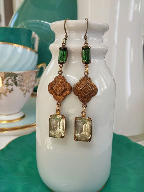vintage art deco emerald green earrings