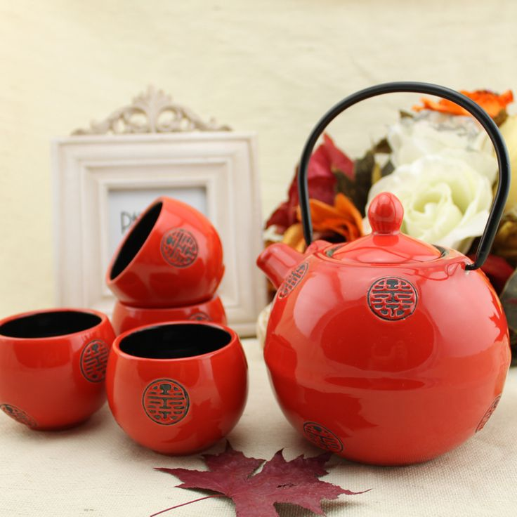 Japanese style ceramic tea set and wind red set wedding gift cup teapot gift large