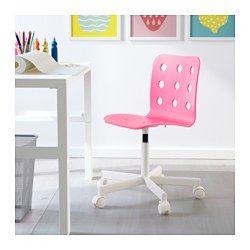 IKEA - JULES, Kinderbureaustoel, roze/wit, , Doordat de stoel in hoogte verstelbaar is, zit je comfortabel.De veiligheidswielen hebben een belastingsgevoelig vergrendelmechanisme waardoor de stoel veilig op zijn plaats blijft staan als je opstaat, en dat automatisch wordt gedeactiveerd als je gaat zitten.