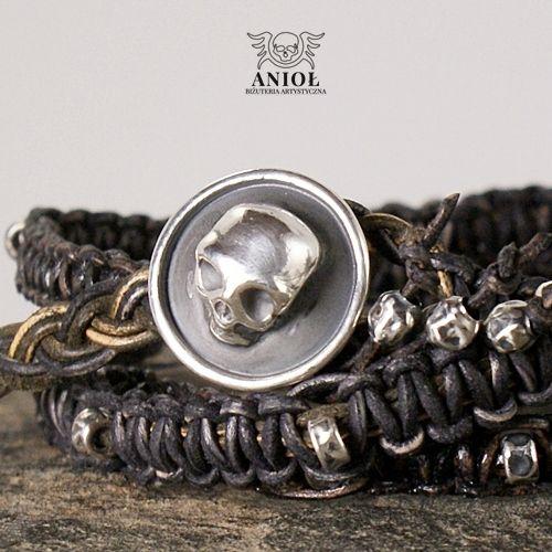 NOMADA (leather strap, skull) - bransoleta męska / Anioł / Biżuteria / Dla mężczyzn