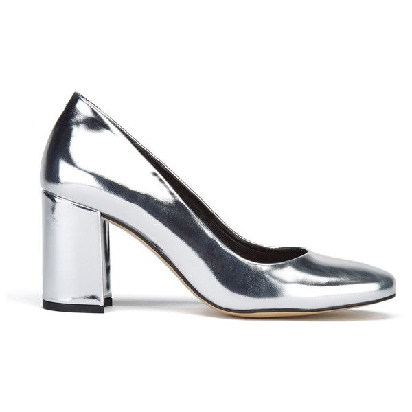 Dune Women's Acapela Metallic Court Shoes ($105) ❤ liked on Polyvore featuring shoes, pumps, silver, high heel pumps, high heel shoes, rounded toe pumps, high heel court shoes and block heel court shoes