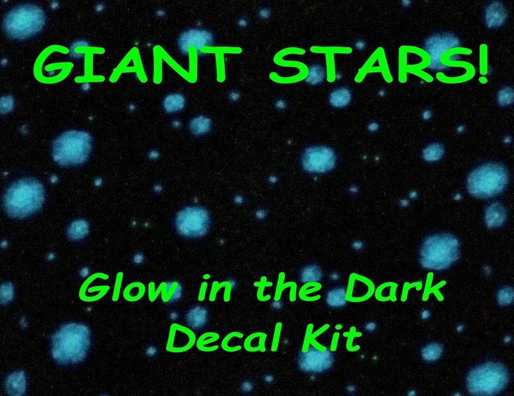 "GIANT Stars! Glow in the Dark Ceiling Star Decal Kit - Huge Stars - Deep Outer Space Illusion - Hand Painted Mural in a peel & stick kit - EZ Install. Hand Painted Glow in the Dark Deep Space GIANT STAR decal kit for your bedroom ceiling. This kit includes the following: + 5 Monster sized Star decals 5"" + 10 Giant Star Decals 3"" + 12 Bright Star Decals (1"") Dual Hue + 60 Accent Stars (3/4') Dual Hue + 340 Beautiful Background stars that are easy to install - just peel and stick. One kit…"