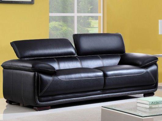Canapé 3 places en cuir MACELO Noir prix promo Canapé Vente Unique 699.99 € TTC prix constaté* : 1 898 €