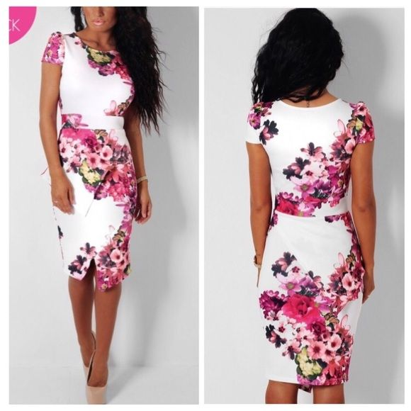 WHITE & FLORAL OFFSET PEPLUM MIDI DRESS UK size 6 Dresses Midi