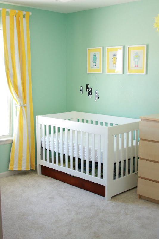 Paint color: Benjamin Moore Robin's Nest with yellow accents. Very cute nursery