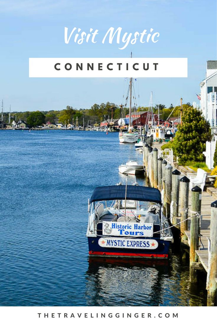 Visit Mystic, Connecticut on a New England Road trip. Visit the Mystic Aquarium and see New England's only beluga whales and explore the Mystic Seaport where you can see the Mayflower II.  Wander around the shops of the Olde Mystik Village and eat pizza at Mystic Pizza