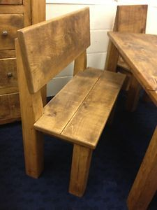 Rustic Plank Dining Benches With Back