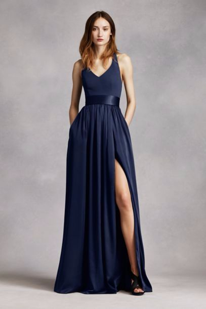 Halter for the other bridesmaids! White by Vera Wang, dress in Marine.