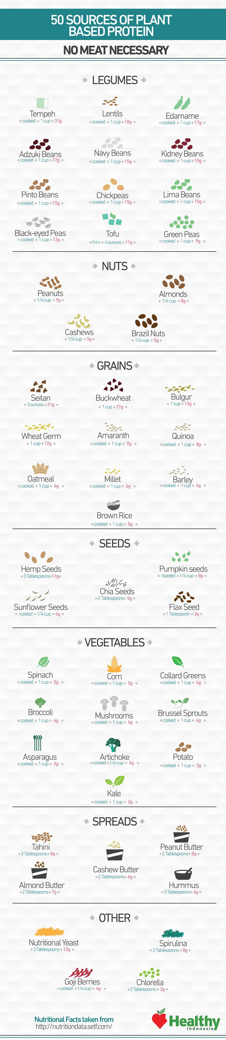 Think you have to eat tons of meat to get enough protein? False! --> 50 Sources of Plant Based Protein - Sprint 2 the Table