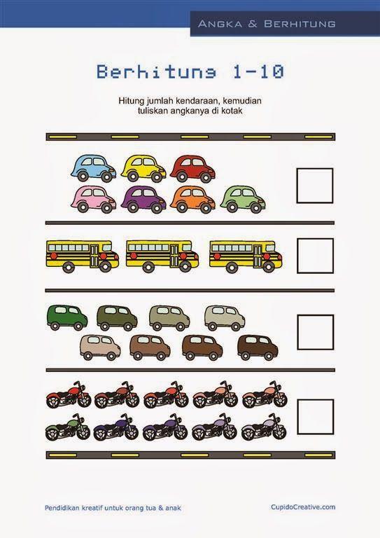 belajar hitung anak paud-balita, angka 1-10, gambar mobil/bus/sepeda motor