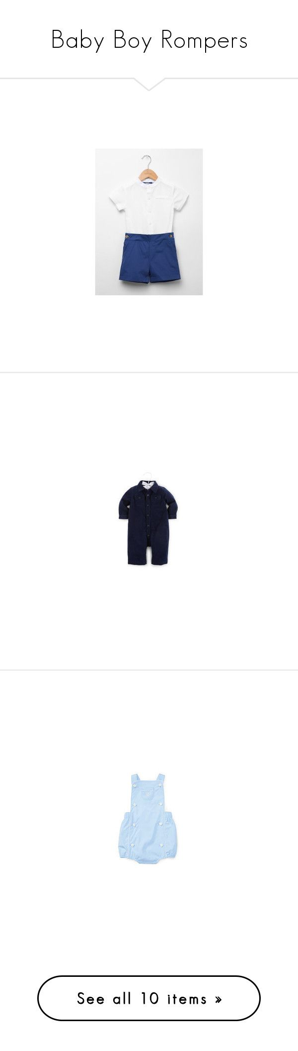 """Baby Boy Rompers"" by royalfamily-i ❤ liked on Polyvore featuring jumpsuits, blue jumpsuit, overalls jumpsuit, blue bib overalls, embroidered jumpsuit, blue overalls, tops, short overalls, blue top and polo tops"