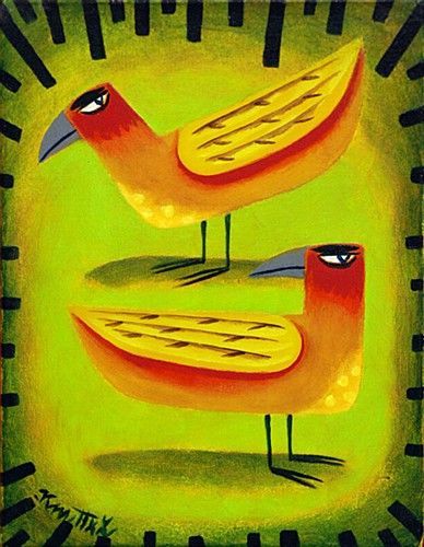 Graham Knuttel 'Two Birds' #art #birds #bright #painting #bird #GrahamKnuttel #DukeStreetGallery