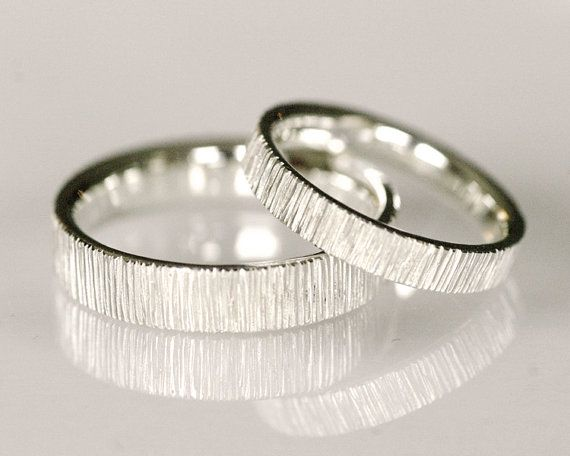 Wedding band set 14k white gold simple organic by TinkenJewelry, $1390.00