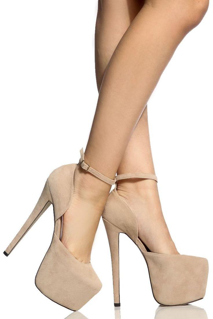 Nude Faux Suede Platform Stilettos @ Cicihot Heel Shoes online store sales:Stiletto Heel Shoes,High Heel Pumps,Womens High Heel Shoes,Prom Shoes,Summer Shoes,Spring Shoes,Spool Heel,Womens Dress Shoes