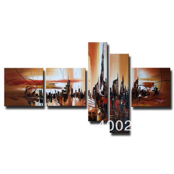 Стены искусства декора набор из 5 шт. Абстрактные Картины Маслом на холст Ручной росписью Высокое качество Angel City 80 дюйм(ов) x 47.5 дюйм(ов)