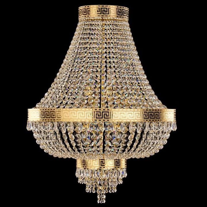 #Empire #chandelier, gold plated metallic structure. Lightwork is fitted by #crystal cut glass in degradè.