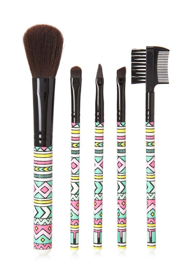 Tribal Print Cosmetic Brush Set | Forever 21 - 1000096393
