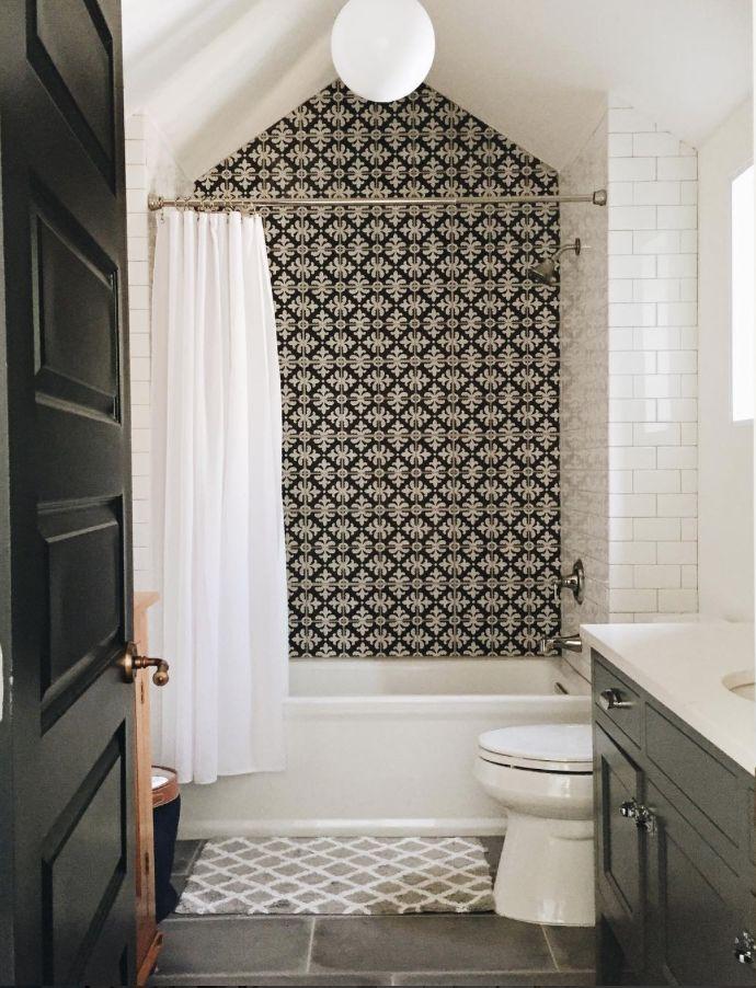 Bathroom design ideas tile, cement tile, subway tile, black and white