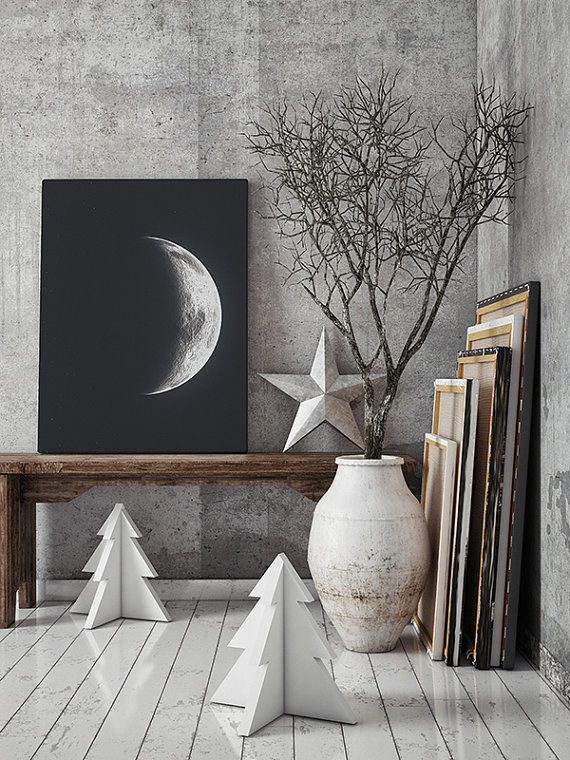 Moon Canvas. La Luna Vintage Print. Solar System Art. Celestial Dorm Room Art. Indie Space Art. Large Bohemian Wall Art. 18 x 24 in Canvas.