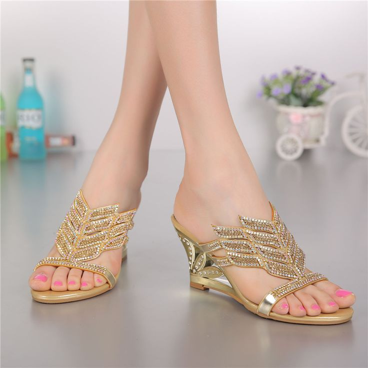 Women Wedge Shoes High-heeled Sandals And Slippers Diamond Flowers Sandals Rhinestone Wedding Shoes Big Size 43 44