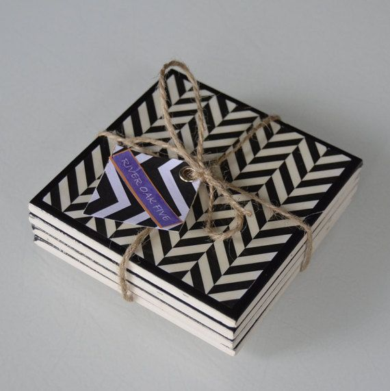 Hand-crafted Ceramic Tile Coasters Geometric by RiverOakFive